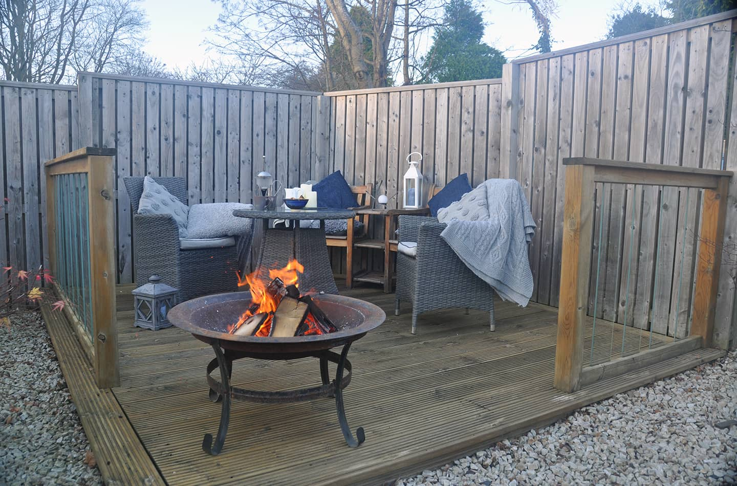 garden decking with firepit