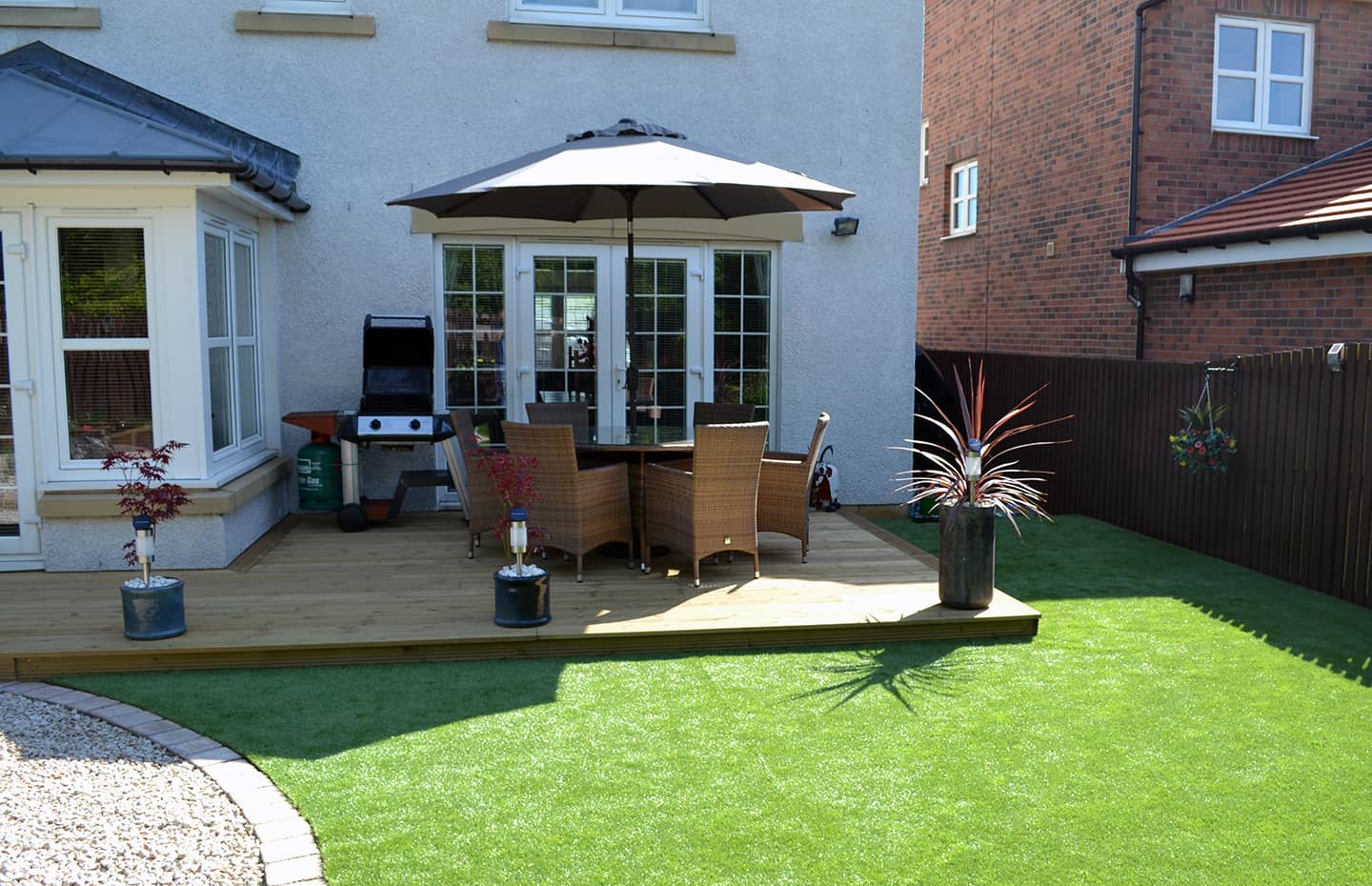 garden decking with fire pit